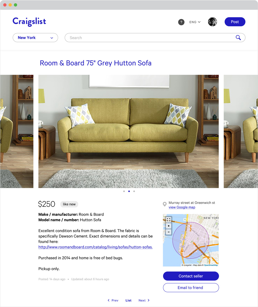 Personal Project To Redesign Craigslist Which Is An American Classified Advertisements Website With Sections Devoted Jobs Housing Personals For Sale